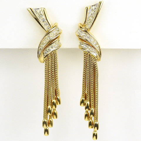 Boucher Gold and Pave Bowknots with Pendant Tassels Clip Earrings