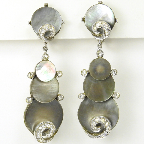 Boucher Pave Swirls and Overlaid Mother of Pearl Discs Pendant Clip Earrings
