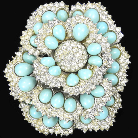 Boucher Pave and Turquoise Cabochons Flower Pin
