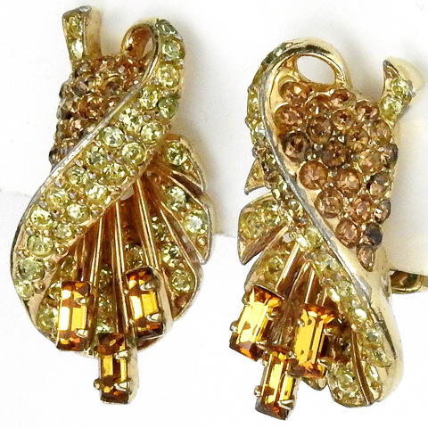 Boucher Gold Citrine and Topaz Baguette Stamens Flower Clip Earrings