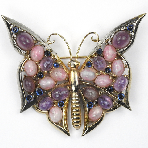 Boucher Gold Pink Quartz Sapphire and Amethyst Butterfly Pin