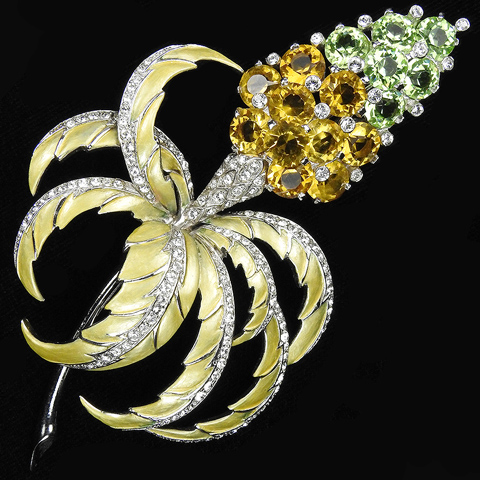 MB Boucher Citrine Peridot and Metallic Enamel 'Jewels of Fantasy' Giant Flower Pin