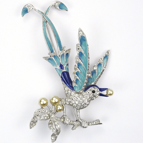 MB Boucher Pave Pearls and Blue Enamel Perching Lyre Bird on a Branch Pin