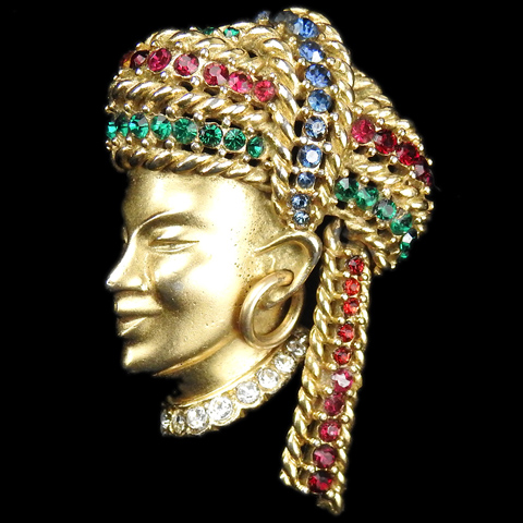 Boucher Gold Oriental Man with Earring in a Multicolour Turban Pin