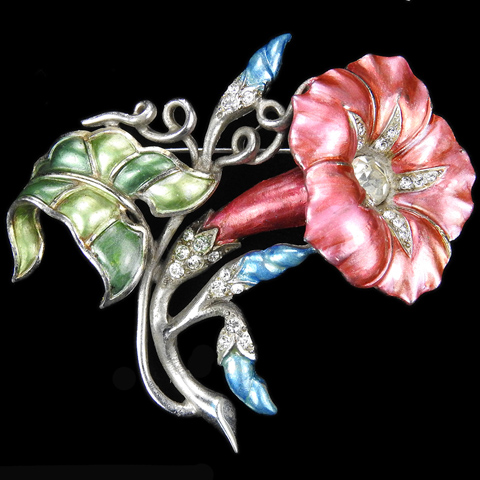 MB Boucher Metallic Enamel Morning Glory Pink Flower with Blue Buds and Green Leaves Pin