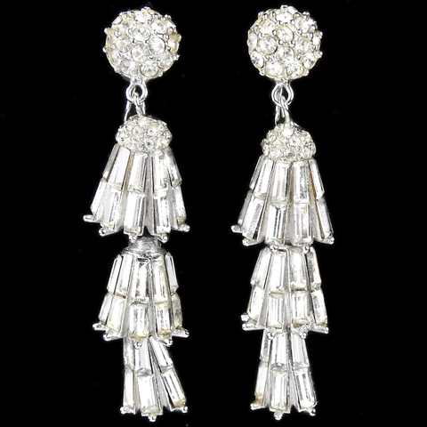 Boucher Triple Element Baguette Lanterns Pendant Clip Earrings