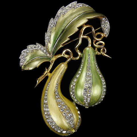 MB Boucher Pave and Metallic Enamel Double Gourd Squash or Marrow Vegetable Pin