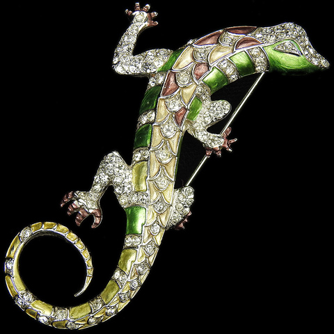 MB Boucher Pave and Metallic Enamel Lizard Pin