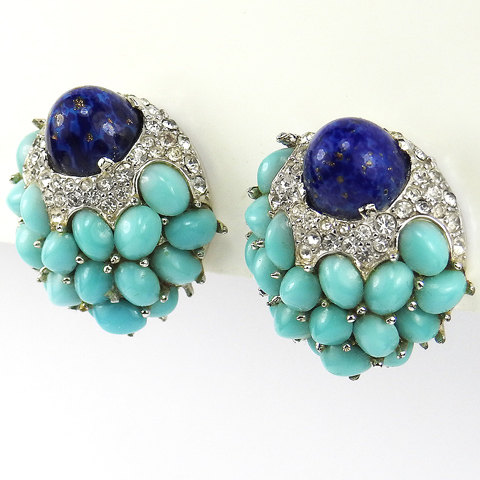 Boucher Turquoise Cabochon Pave and Lapis Flower Bud Clip Earrings