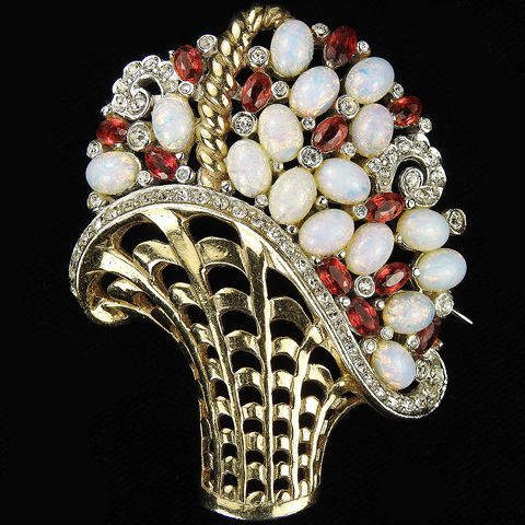 MB Boucher Gold and Pave Openwork Iridescent Opal Cabochons and Rubies Flower Basket Pin