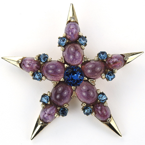 Boucher Gold Sapphire and Amethyst Cabochons Five Pointed Star Pin