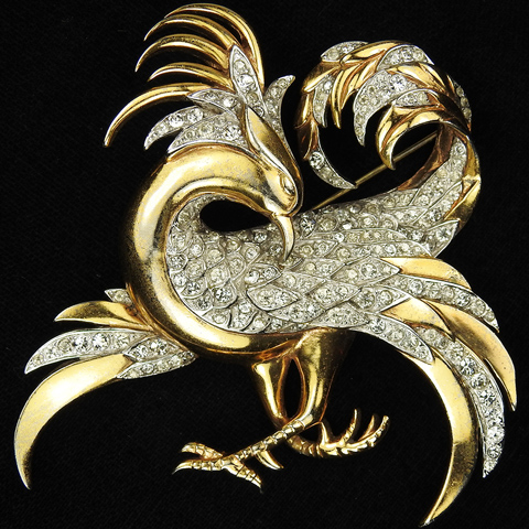 MB Boucher Gold and Pave Phoenix Bird Pin