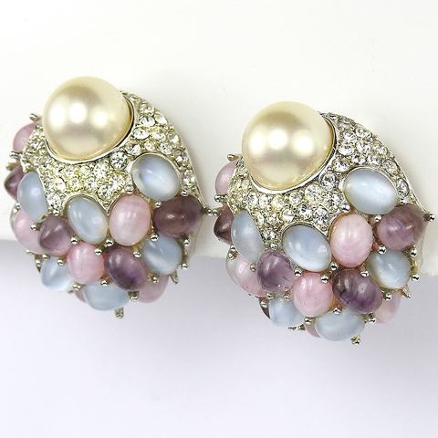 Boucher Pave Pearl and Pastel Cabochons Flower Bud Clip Earrings