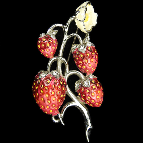 MB Boucher Pave and Metallic Enamel Four Strawberries on a Flowering Branch Pin