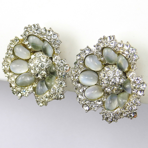 Boucher Pave and Moonstone Cabochons Floral Softouch Clip Earrings