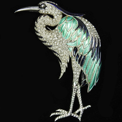 MB Boucher Pave and Metallic Enamel Heron Bird Pin