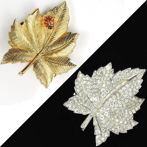 Boucher Reversible Day and Night Ladybug on Gold or Pave Maple Leaf Pin