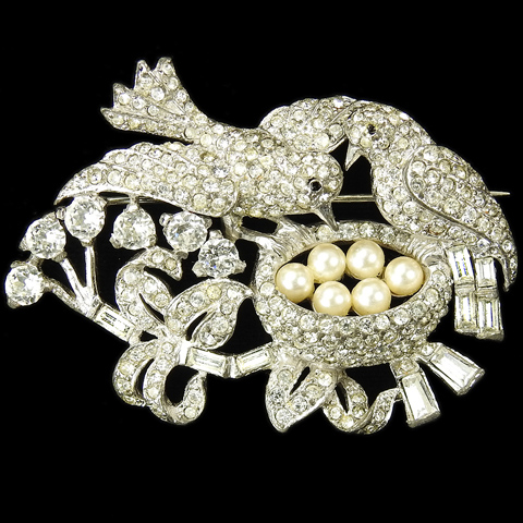 MB Boucher Pave Pearls and Baguettes 'Love Nest' Birds with Nest on a Branch Pin