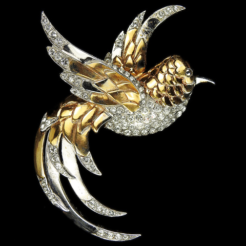 MB Boucher Gold and Pave Flying Bird Pin
