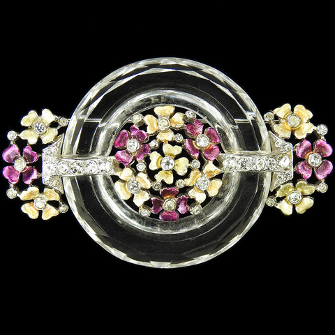 MB Boucher Metallic Enamel Flowers and Crystal Circle Deco Bar Pin