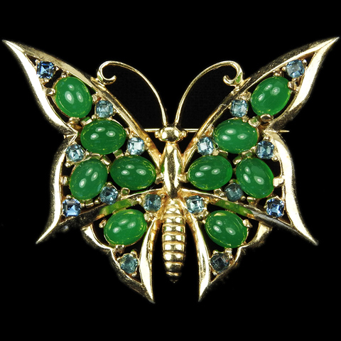 Boucher Gold and Emerald Cabochon Butterfly Pin