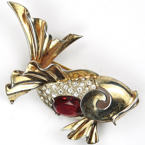 MB Boucher Sterling Gold Pave and Ruby Belly Fish Pin