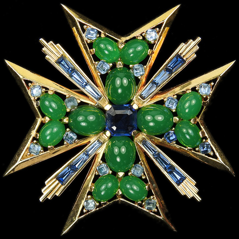 Boucher Gold Emerald Cabochons and Sapphire Baguette Sunbursts Maltese Cross Pin