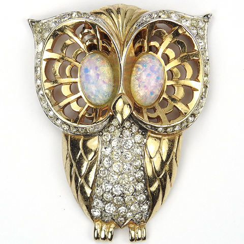 MB Boucher Gold Openwork Pave and Opal Cabochon Owl Pin Clip