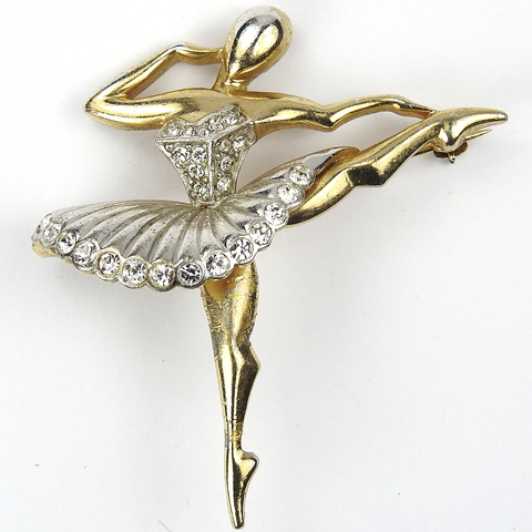 MB Boucher 'Ballet of Jewels' Gold and Pave 'Sonia' Ballerina Pin
