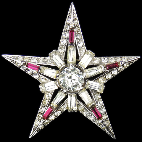 Boucher Pave Diamante and Ruby Baguettes Five Pointed Star Pin