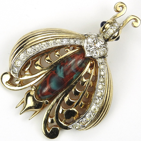 MB Boucher Gold Pave and Marbled Quartz Bug Pin Clip