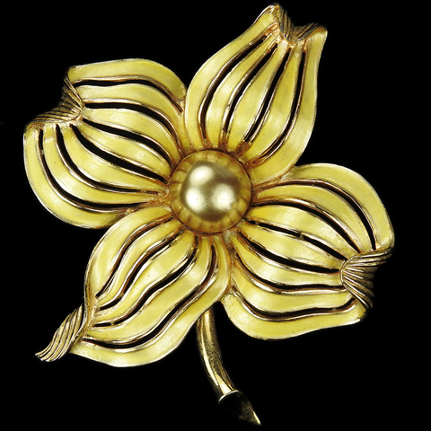 MB Boucher Gold Yellow Metallic Enamel and Pearls Dogwood Flower Pin
