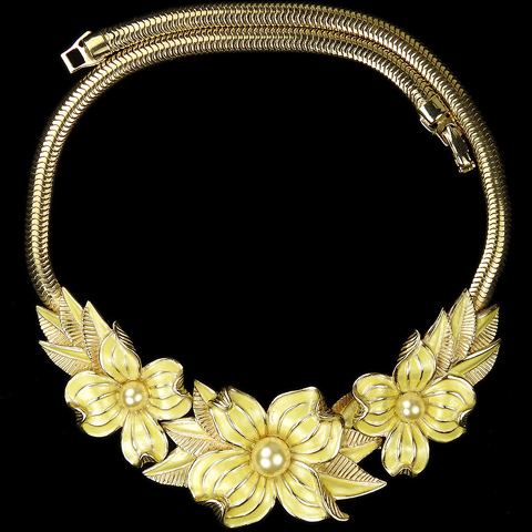 MB Boucher Gold Yellow Metallic Enamel and Pearls Dogwood Flowers Necklace