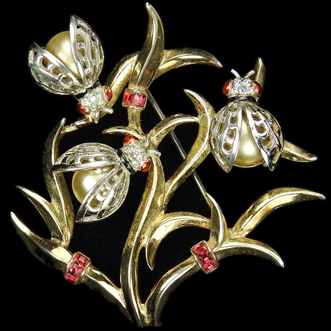 MB Boucher Sterling Gold and Pearls Three Ladybugs on a Branch Pin