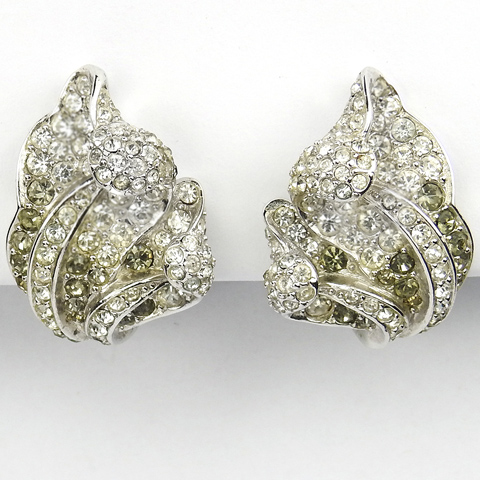 Boucher Diamante and Black Diamond Orchid Leaf Clip Earrings