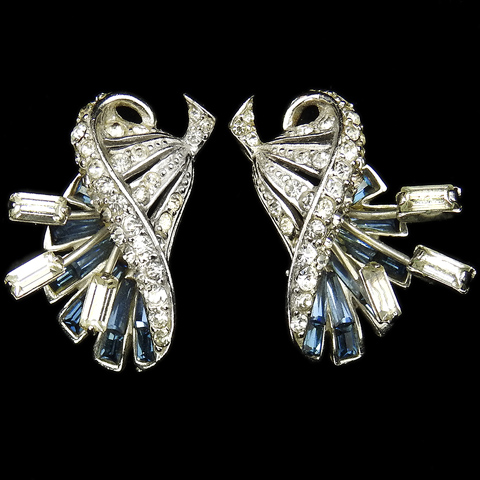 MB Boucher Pave and Sapphire Baguettes Flower with Diamante Stamens Clip Earrings