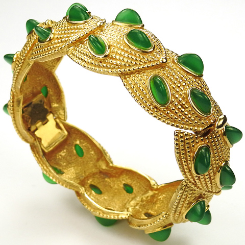 Boucher Braided Gold Shields and Vertically Set Emerald Demilune Cabochons Bangle Cuff Bracelet