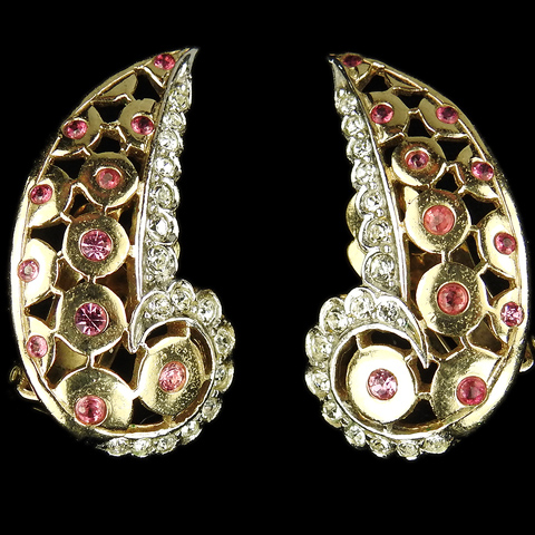 MB Boucher Pave Rubies and Openwork Gold Circles Swirl Clip Earrings