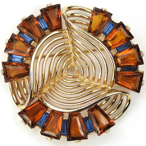 MB Boucher Kite Shape Cut Topaz and Sapphire Baguettes Gold Openwork Swirl Pin