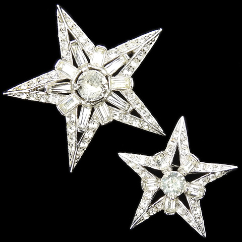 MB Boucher Pave and Chatons Medium and Small Pair of Pentangle Star Scatter Pins
