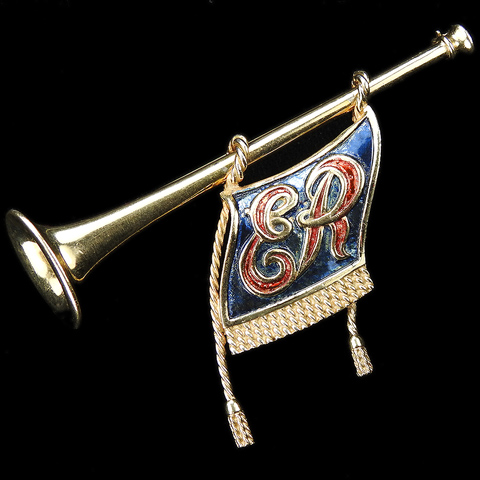 MB Boucher Gold and Metallic Enamel Coronation of Elizabeth II Ceremonial Fanfare Trumpet with Tasselled ER Banner Pin