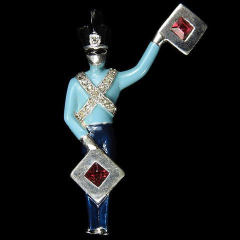 MB Boucher Pave and Enamel Miniature Soldier with Flags Signalling the Semaphore Letter E Pin
