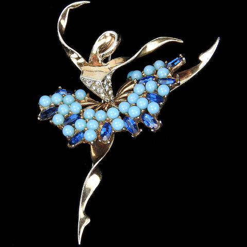 MB Boucher Sterling Gold Pave Turquoise and Sapphire Ballerina en Pointe Ballet Pin