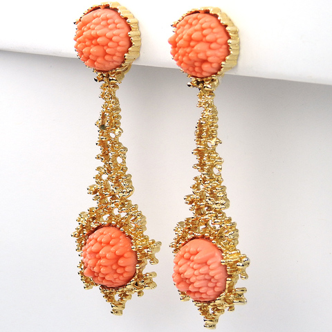 Boucher Gold and Coral Pendant Clip Earrings