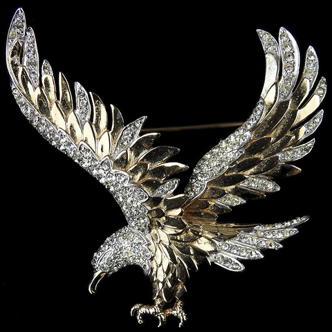 Boucher Korean War US Patriotic Gold and Pave Swooping Eagle Pin