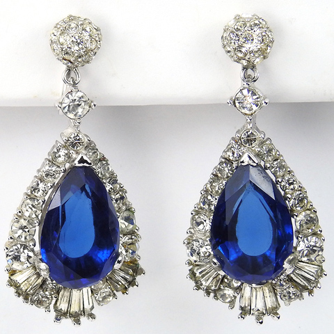 Boucher Pave and Pendant Sapphire Teardrop Clip Earrings