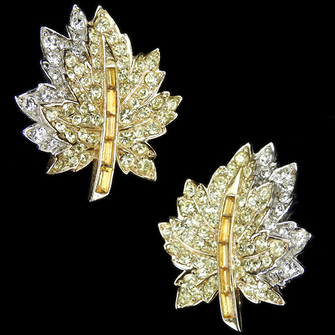 Boucher Citrine and Diamante Pave Double Maple Leaf Clip Earrings