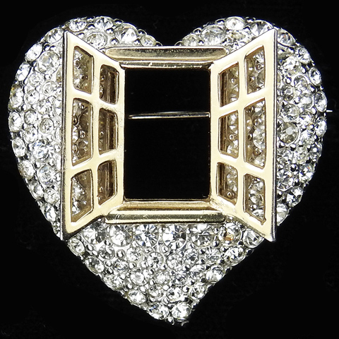 Boucher Golden Open Window into a Pave Heart Pin
