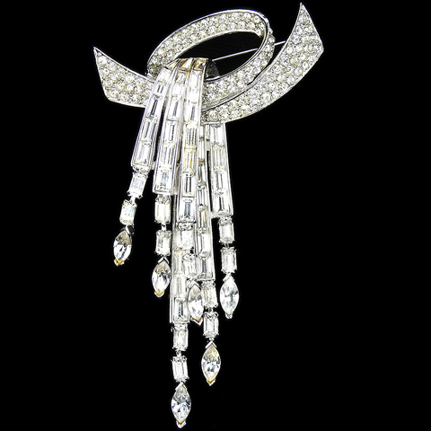 Boucher Pave Bow Swirl and Pendant Diamante Baguettes with Multiple Pendants Pin