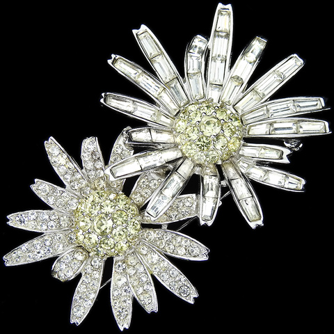 Boucher Pave and Baguettes Diamante and Citrine Double Flower Pin
